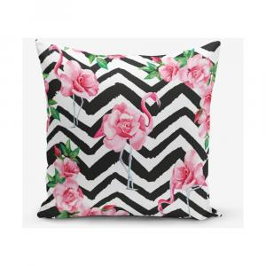 Obliečka na vankúš s prímesou bavlny Minimalist Cushion Covers Stripped Flamingo, 45 × 45 cm