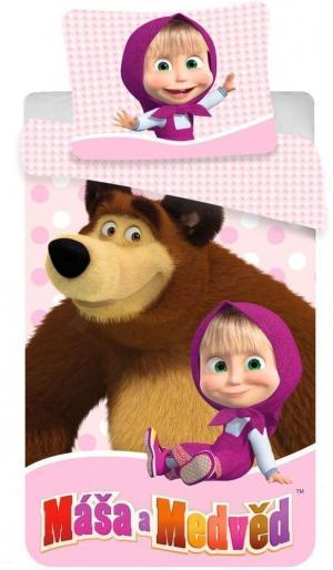 Obliečky bavlnené, Máša a Medveď s bodky