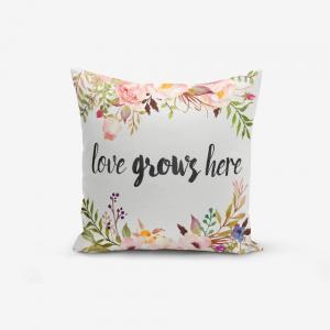 Obliečka na vankúš s prímesou bavlny Minimalist Cushion Covers Love Grows Here, 45×45 cm
