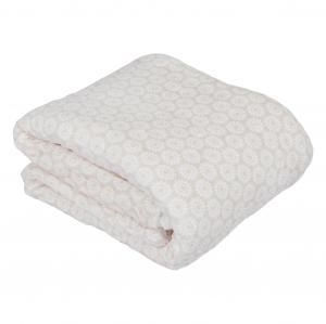 Obojstranná baránková deka, béžová/biela/vzor, 150x200, AVANTI