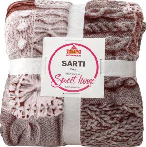 Obojstranná baránková deka, biela, vzor patchwork, 150x200, SARTI