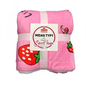Obojstranná baránková deka, ružová/vzor jahody, 150x200cm, MIDAS TYP1