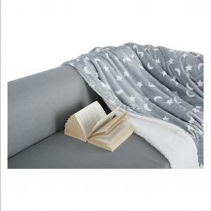 Obojstranná baránková deka, sivá/biela/vzor, 150x200, NAVO
