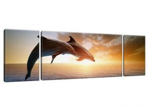 Obraz na plátne Skákajúce delfíny 170x50cm 1358A_3G