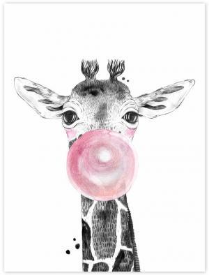 Obraz na stenu - Žirafa s ružovou bublinou