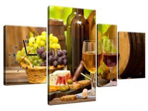 Obraz s hodinami Červené a biele víno 120x70cm ZP2231A_4AN