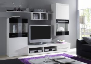 Obývací stěna NICK Barva: bílá mat/černá