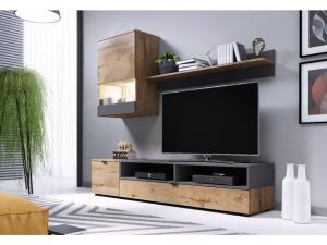 Obývací stěna PAT Barva nábytku: Dub lefkas/šedý mat