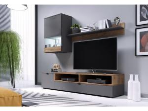 Obývací stěna PAT Barva nábytku: Šedý mat/dub lefkas