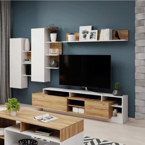 Obývací stěna, dub grandson/bílá, ALICANTE 0000238814 Tempo Kondela