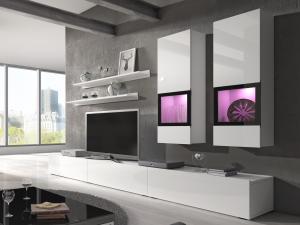 Obývacia stena - Barly - Typ 10 (biela + biely lesk). Akcia -40%.