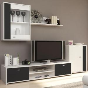 Obývacia stena, biela/čierna, GENTA