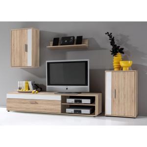 Obývacia stena, biely/dub sonoma, ASOLE