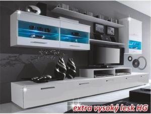 Obývací stěna, bílá / bílá extra vysoký lesk HG, LEO 0000066456 Tempo Kondela