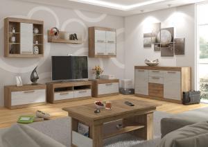 Obývacia stena Maximus WIP 2 Farba: dub burgund/biela lesk
