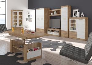 Obývacia stena Maximus WIP 4 Farba: dub burgund/biela lesk