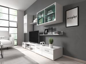 Obývacia stena Klara (biela + lesk biely) (s LED osvetlením)