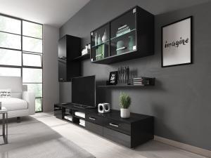 Obývacia stena Klara (čierna + lesk čierny) (s LED osvetlením)