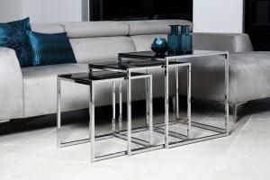 Odkladací stolík 3-set Aimilios, čierna / chrómová