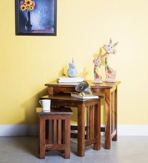 Odkladacie stolíky 3ks Rami indický masív palisander - Only stain