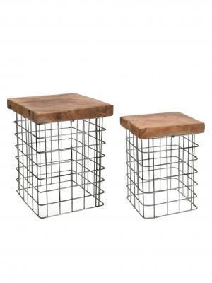 Odkladacie stolíky Riset štvorcové, 30 cm, súprava 2 ks