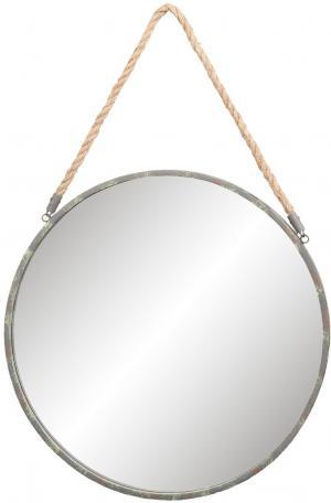 Okrúhle kovové zrkadlo s povrazom - Ø 47 * 3cm