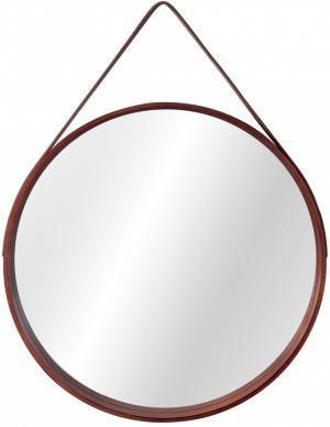 Okrúhle zrkadlo Loft 59 cm drevené hnedé