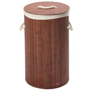 Okrúhly bambusový kôš na špinavú bielizeň