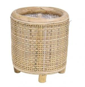 Okrúhly bambusový kvetináč na nožičkách Bamboo - Ø14*16 cm