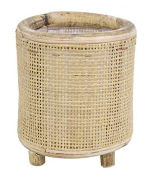 Okrúhly bambusový kvetináč na nožičkách Bamboo - Ø17 * 18 cm
