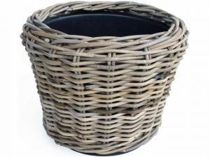 Okrúhly ratanový kvetináč Drypot antik sivá - Ø33 * 24 cm