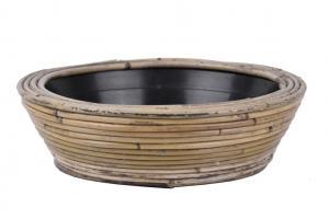 Okrúhly ratanový kvetináč Drypot Stripe antik sivá - Ø30 * 12 cm