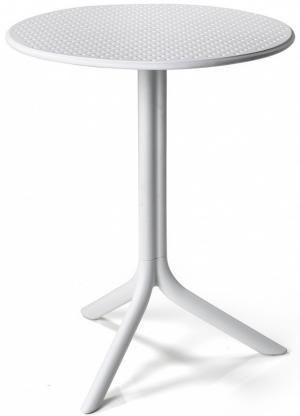 Okrúhly záhradný stôl Nardi Step biely dvojitá výška