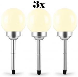 OneConcept LED-Flower 30, 3x záhradné svietidlo, solárna lampa, Ø 30 cm, 4 LED diódy, IP44, teplá biela