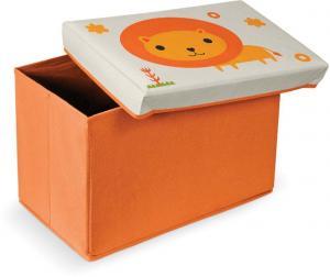 Oranžová podnožka s úložným priestorom Domopak Lion