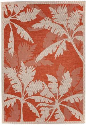 Oranžovo-béžový vonkajší koberec Floorita Palms Orange,135x190cm