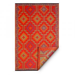 Oranžovo-fialový obojstranný vonkajší koberec z recyklovaného plastu Fab Hab Lhasa Orange & Violet, 150 x 240 cm