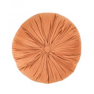 Oranžový zamatový dekoratívny vankúš Tiseco Home Studio Velvet, ø 38 cm