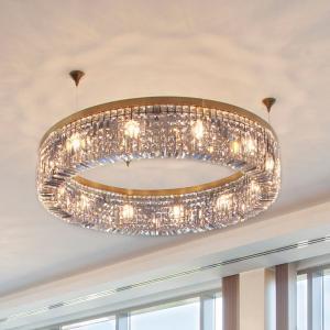 Orion Lesklá krištáľová závesná lampa Kruh 110 cm zlatá