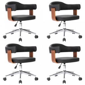 Otočná jedálenská stolička 4 ks Dekorhome Čierna / hnedá