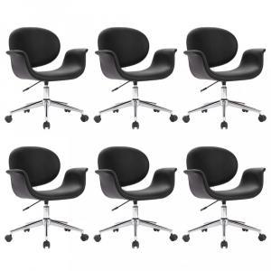 Otočná jedálenská stolička 6 ks Dekorhome Čierna