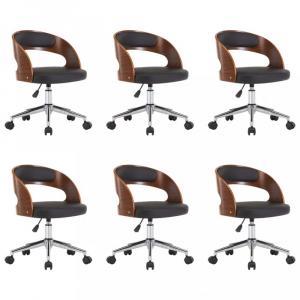 Otočné jedálenská stolička 6 ks Dekorhome Čierna / hnedá