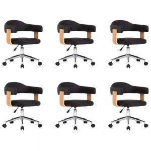 Otočné jedálenská stolička 6 ks Dekorhome Čierna / svetlohnedá