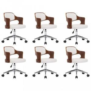 Otočné jedálenské stoličky 6 ks Dekorhome Biela