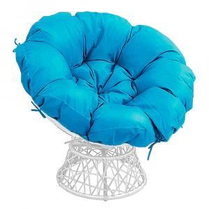 Otočné kreslo s vankúšom, biela/petrolejová modrá, TRISS BIG