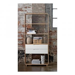 Otvorená knižnica z dreva bieleho duba Unique Furniture Amalfi