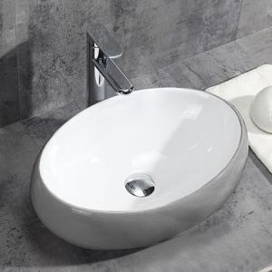 Oválne keramické umývadlo na dosku LINDA, sivo-biele