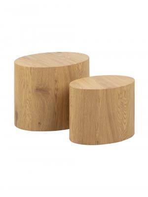 Oválne stolíky Stelly, súprava 2 ks, dub