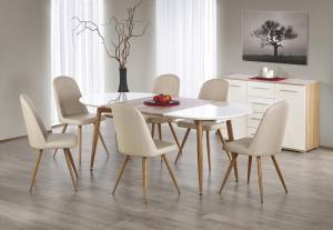 Oválný rozkládací jídelní stůl Edward bílý/dub medový