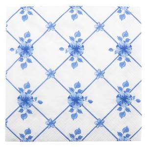 Papierové obrúsky s modrými kvetmi - 33 * 33 cm (20)